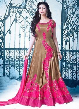 Ayesha Takia Beige Abaya Style Anarkali Suit