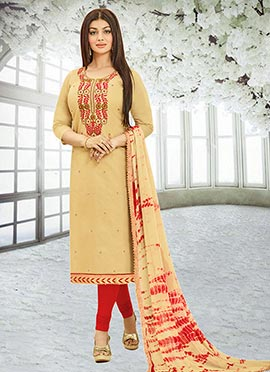 Ayesha Takia Beige Chanderi Silk Churidar Suit