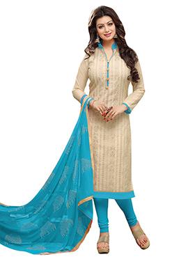 Ayesha Takia Beige Embroidered Churidar Suit