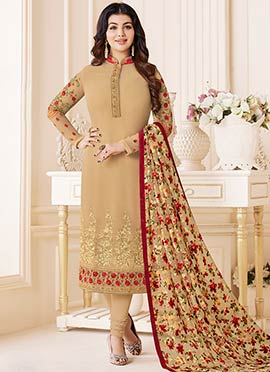 Ayesha Takia Beige Embroidered Straight Suit