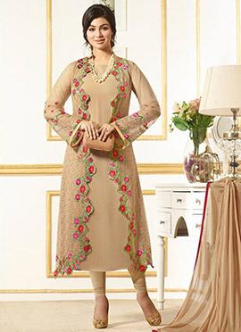 Ayesha Takia Beige Jacket Style Churidar Suit