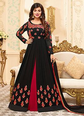 Ayesha Takia Black Abaya Style Anarkali Suit