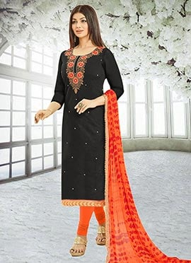 Ayesha Takia Black Chanderi Silk Churidar Suit