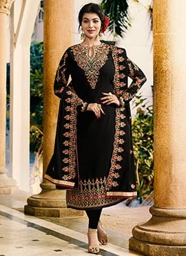 Ayesha Takia Black Embroidered Straight Suit