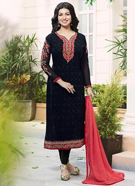 Ayesha Takia Black Georgette Churidar Suit