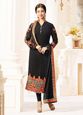 Ayesha Takia Black Georgette Straight Suit