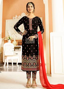 Ayesha Takia Black Georgette Straight Suit