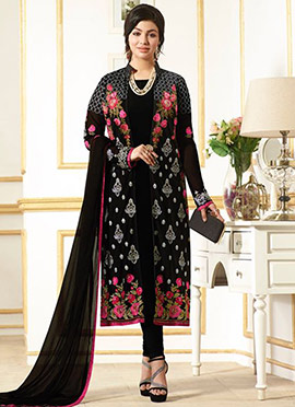 Ayesha Takia Black Jacket Stye Churidar Suit