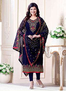 Ayesha Takia Blue Embroidered Straight Suit