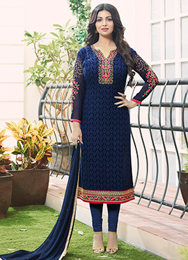 Ayesha Takia Blue Georgette Churidar Suit