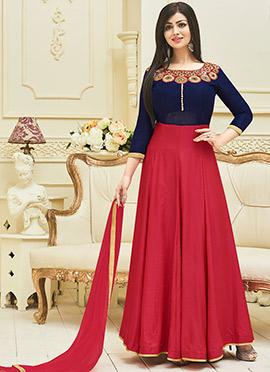 Ayesha Takia Blue N Pink Art Silk Anarkali Suit