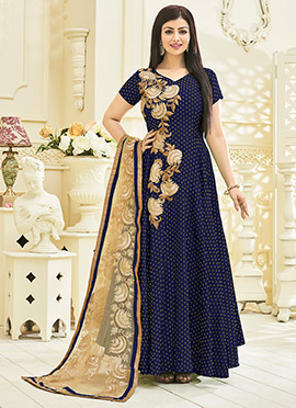 Ayesha Takia Blue Satin Viscose Anarkali Suit