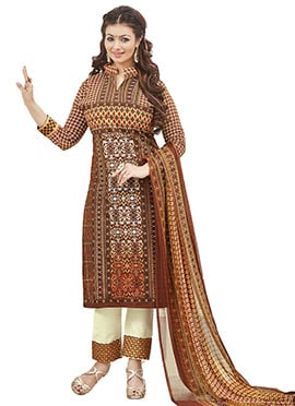 Ayesha Takia Brown Cambric Cotton Straight Pant Suit