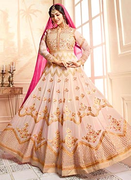 Ayesha Takia Cream Abaya Style Anarkali Suit