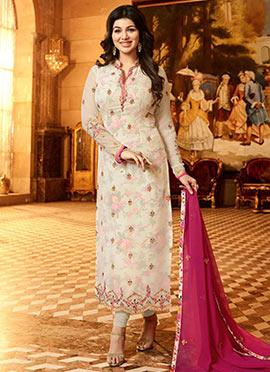 Ayesha Takia Cream Embroidered Straight Suit
