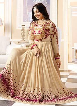 Ayesha Takia Cream Georgette Abaya style Anarkali Suit