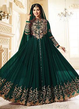 Ayesha Takia Dark Green Abaya Style Anarkali Suit