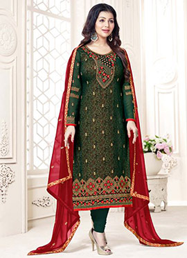 Ayesha Takia Dark Green Embroidered Straight Suit