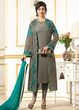 Ayesha Takia Dark Grey Jacket Style Churidar Suit