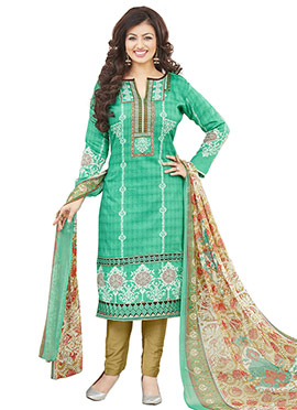Ayesha Takia Green Cambric Cotton Straight Pant Suit