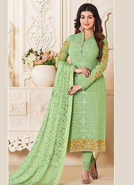 Ayesha Takia Green Embroidered Straight Suit