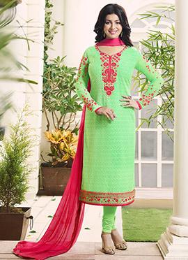 Ayesha Takia Green Georgette Churidar Suit