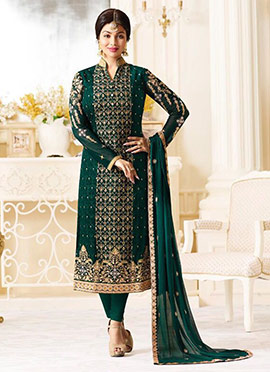 Ayesha Takia Green Georgette Straight Suit