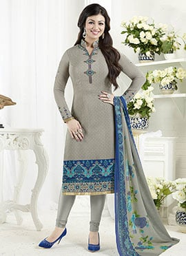 Ayesha Takia Grey Crepe Churidar Suit