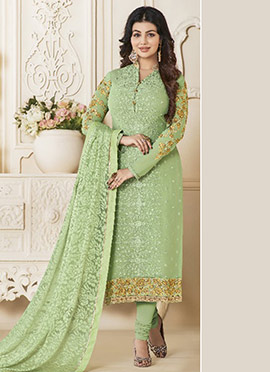 Ayesha Takia Light Green Embroidered Straight Suit