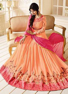 Ayesha Takia Light Orange Abaya Style Anarkali Suit