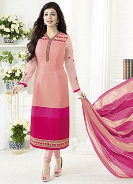 Ayesha Takia Light Pink Crepe Churidar Suit
