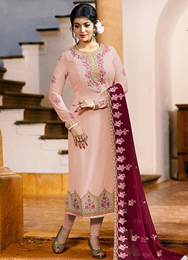 Ayesha Takia Light Pink Embroidered Straight Suit