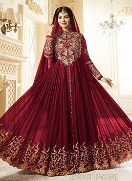 Ayesha Takia Maroon Abaya Style Anarkali Suit