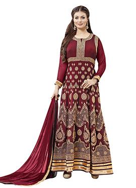 Ayesha Takia Maroon Anarkali Suit