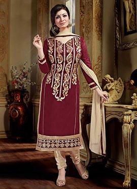Ayesha Takia Maroon Art Silk Churidar Suit