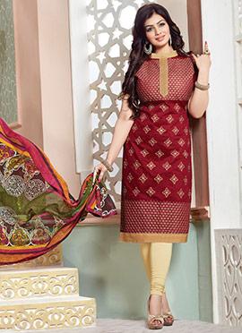 Ayesha Takia Maroon Churidar Suit
