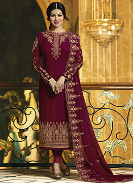 Ayesha Takia Maroon Embroidered Straight Suit