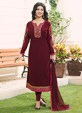 Ayesha Takia Maroon Georgette Churidar Suit