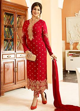 Ayesha Takia Maroon Georgette Straight Suit