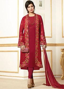 Ayesha Takia Maroon Jacket Style Churidar Suit