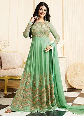 Ayesha Takia Mint Green Abaya Style Anarkali Suit
