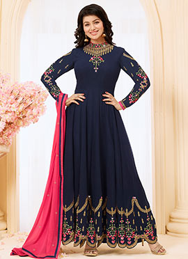 Ayesha Takia Navy Blue Embroidered Anarkali Suit