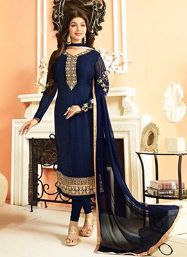 Ayesha Takia Navy Blue Georgette Churidar Suit