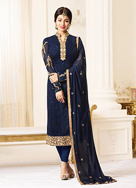 Ayesha Takia Navy Blue Georgette Straight Suit