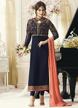 Ayesha Takia Navy Blue Georgette Straight Suit