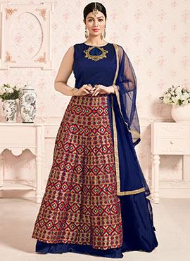 Ayesha Takia Navy Blue Layered Anarkali Suit