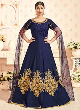Ayesha Takia Navy Blue Silk Abaya Style Anarkali Suit