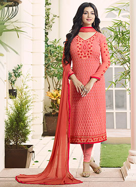 Ayesha Takia Peach Georgette Churidar Suit