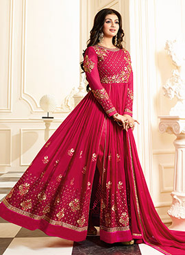 Ayesha Takia Pink Abaya Style Anarkali Suit