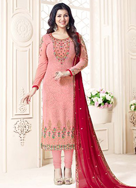 Ayesha Takia Pink Embroidered Straight Suit